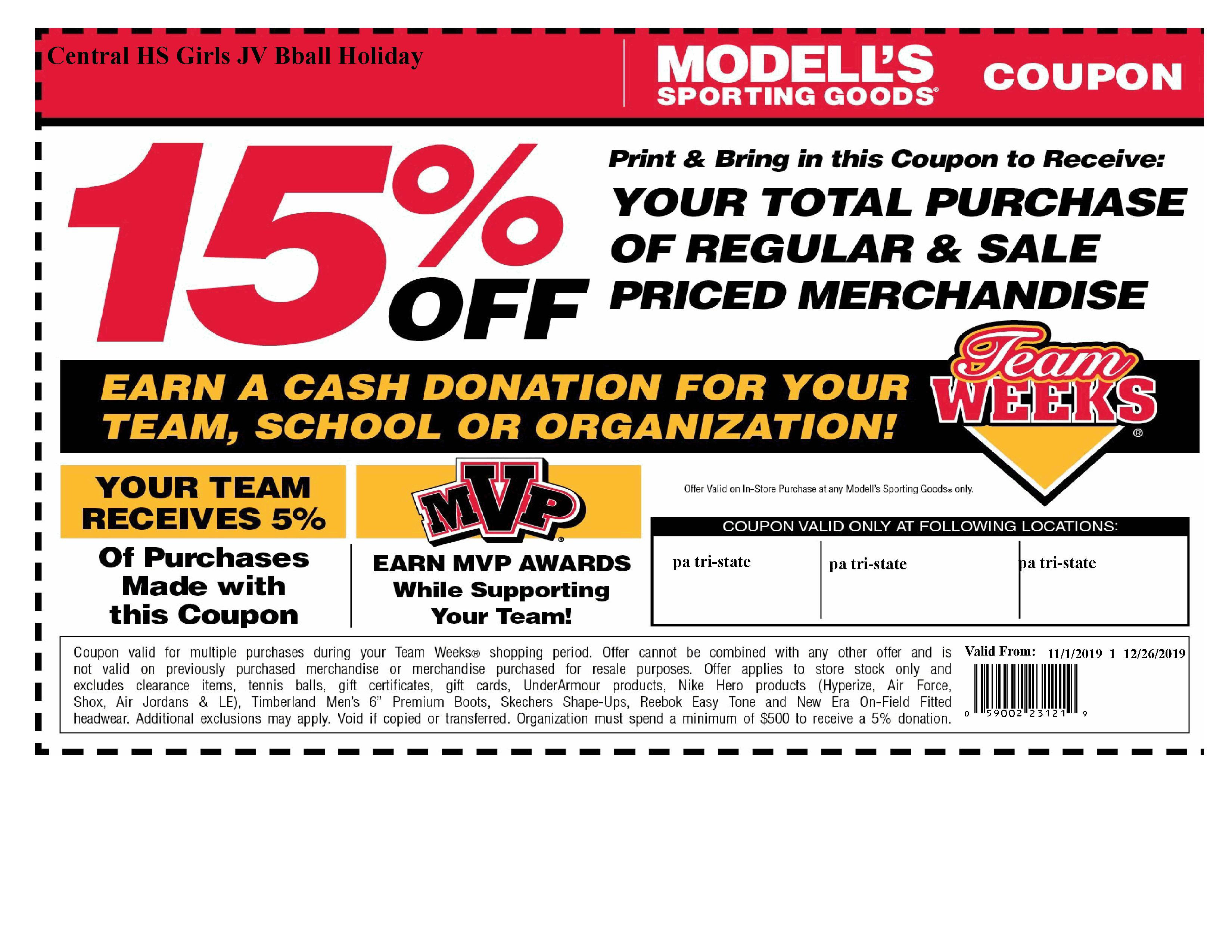 15% off Modell's